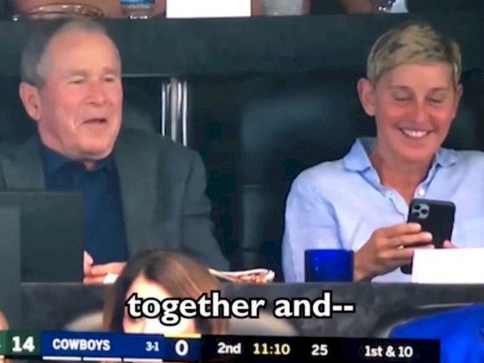 Ellen Mendapatkan Kontroversi Setelah Terlihat dengan George W Bush