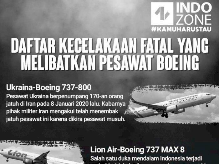 Daftar Kecelakaan Fatal yang Melibatkan Pesawat Boeing