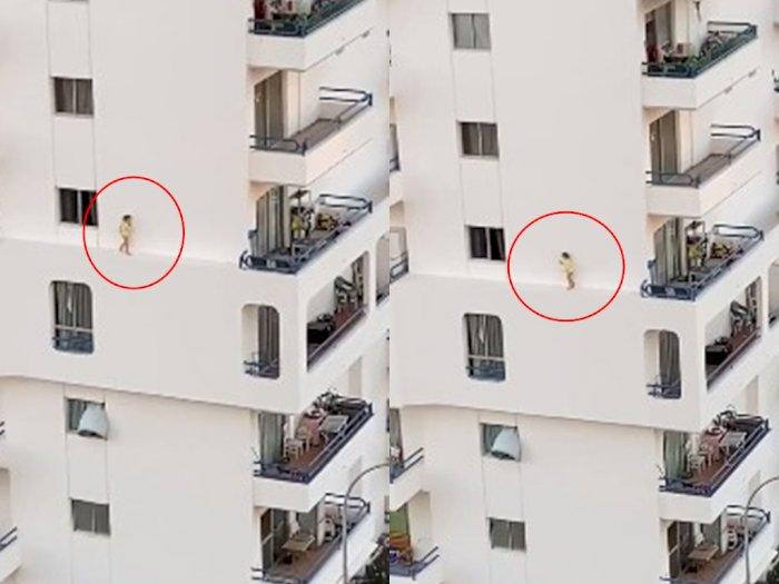 Viral Video Seorang Bocah Berlarian di Tembok Apartemen Lantai 4