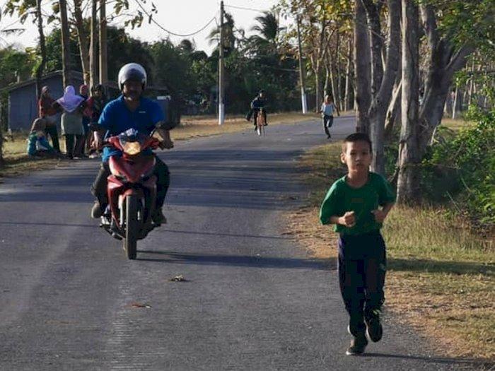 Potret Haru Kisah Ayah Dampingi Anaknya Latihan Lari