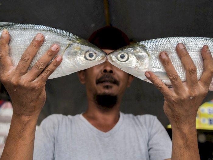 FOTO: Jelang Imlek, Pedagang Bandeng dan Jeruk Mulai Menjamur