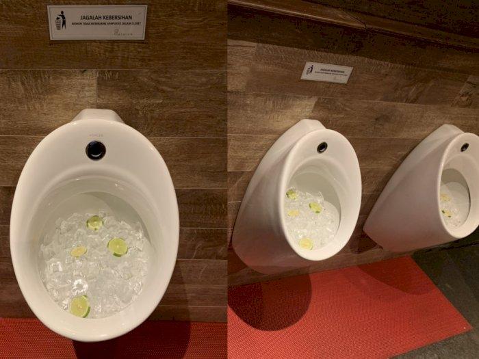 Ada Es Batu & Potongan Jeruk di Urinoir Ini, Fungsinya Apa Ya?
