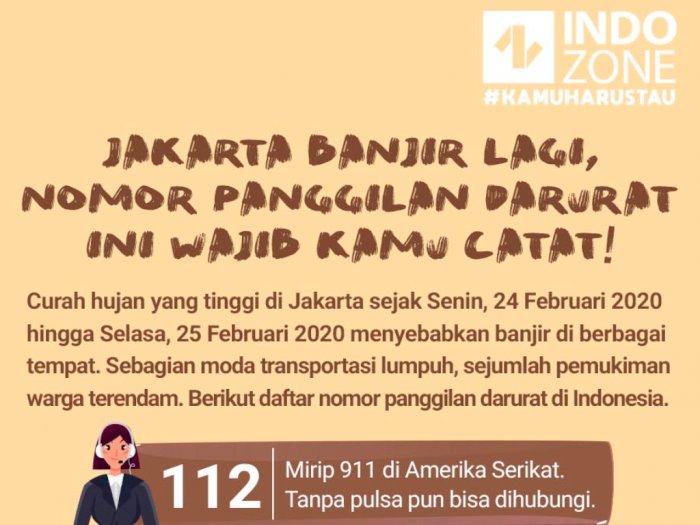 Jakarta Banjir Lagi, Nomor Panggilan Darurat Ini Wajib Kamu Catat!