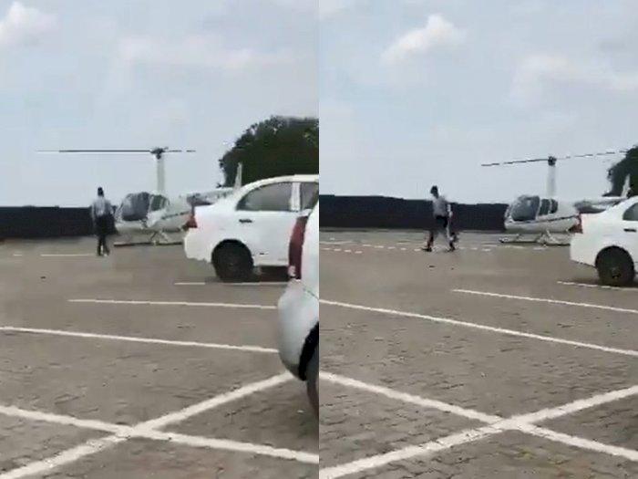Saking Tajirnya, Tas Mahasiswa Ini Diantar Pakai Helikopter