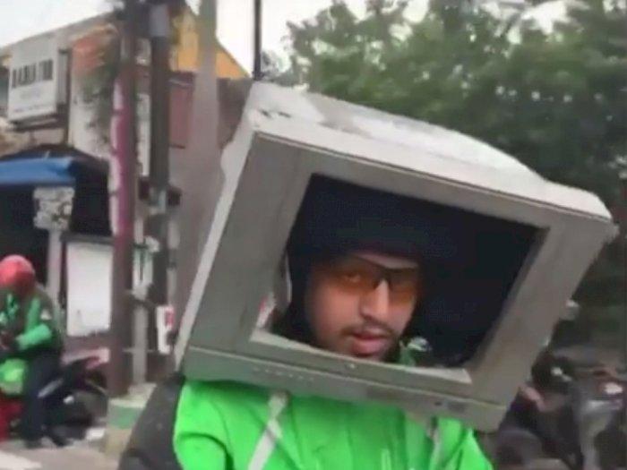 Viral! Driver Ojol Pakai TV Bekas Untuk Dijadikan Helm