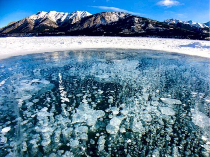 Fenomena Gelembung-Gelembung Membeku di Danau Abraham
