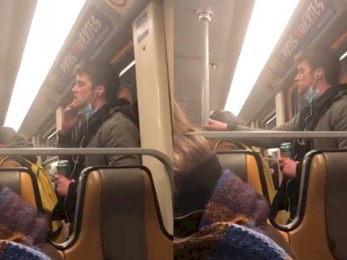 Viral! Pria Ini Gosokkan Tangannya yang Kena Ludah ke Pegangan Kereta