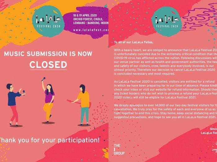 Festival Lalala Fest 2020 Resmi Dibatalkan, Demi Cegah Virus Corona