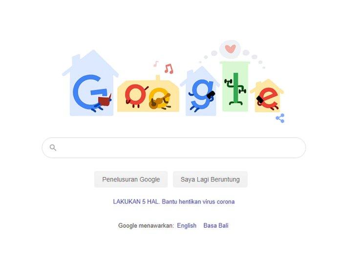 Unggah Ilustrasi Baru, Google Doodle Himbau Pengguna untuk #StayHome
