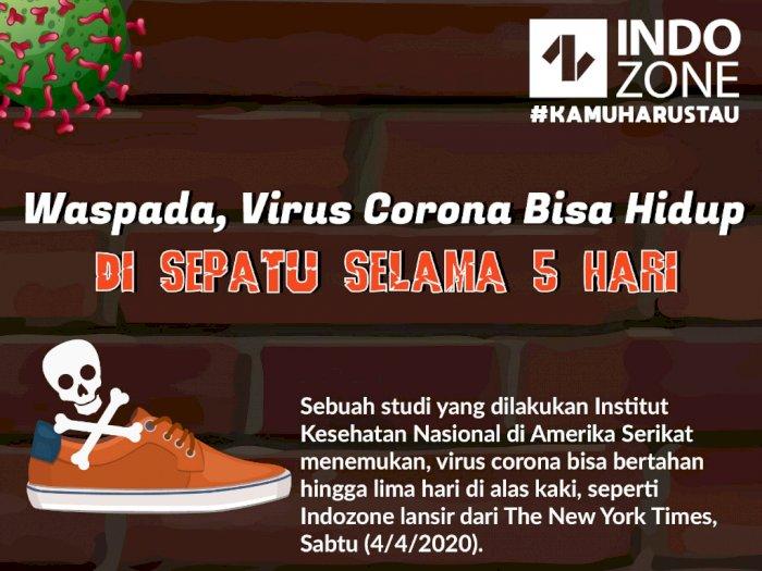 Waspada, Virus Corona Bisa Hidup di Sepatu Hingga 5 Hari