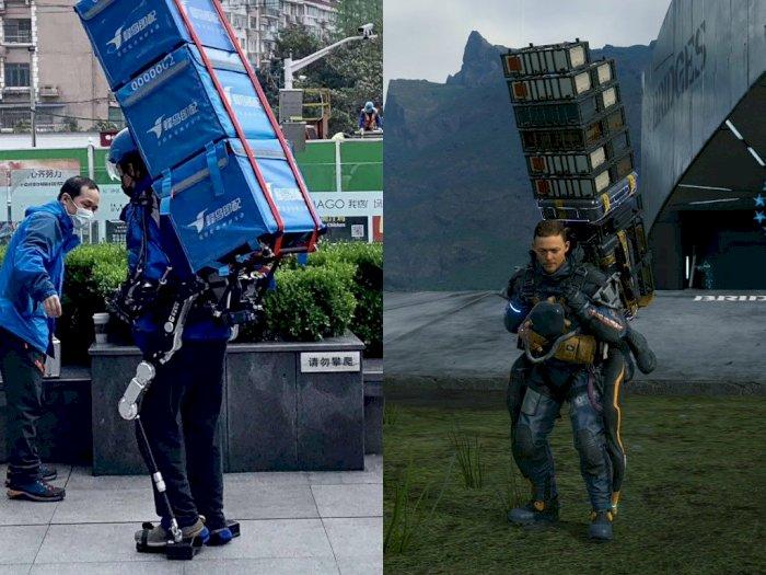 Kurir di Tiongkok Ini Pakai Eksoskeleton Seperti di Death Stranding