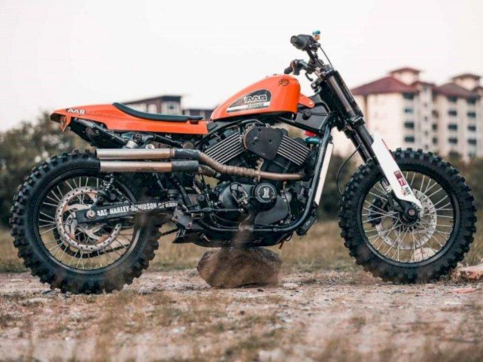 Modifikasi Harley Davidson Retro Jadi Flat Tracker Gahar