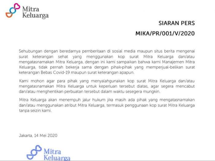 RS Mitra Keluarga akan Polisikan Oknum yang Catut Nama RS untuk Jual Surat Bebas COVID-19