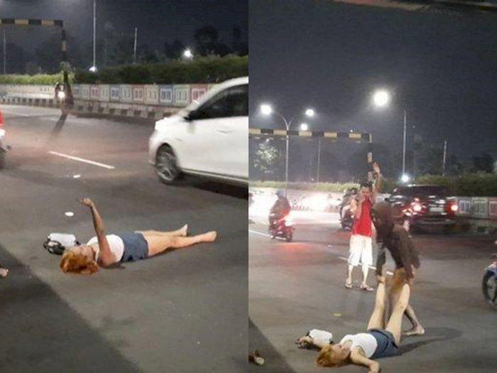 Bikin Heboh Tumbang di Jalan Disaat Pandemi Covid-19, Ternyata Wanita ini Mabuk Berat
