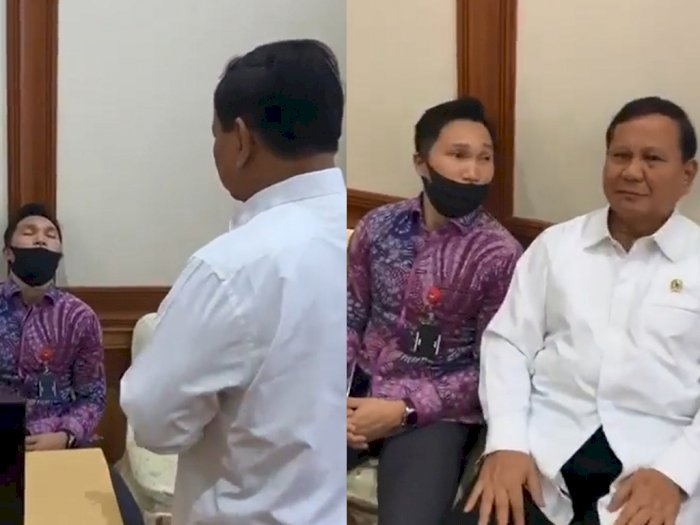 Bukannya Marah, Menhan Prabowo Kerjai Asprinya yang Tertidur saat Rapat