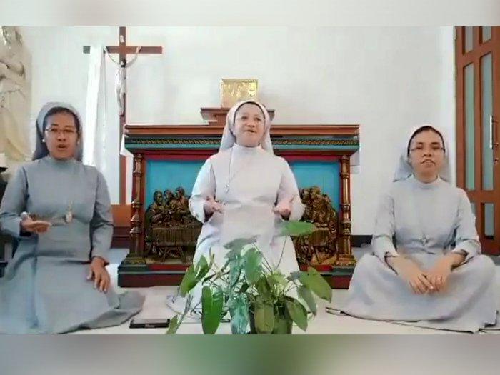Persembahkan Ucapan Selamat Lebaran, Tiga Biarawati Ini Nyanyi Lagu Hari Raya Idul Fitri