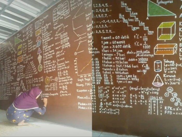 Viral Guru Matematika Hiasi Dinding Rumah Dengan Coretan Rumus Indozone Id