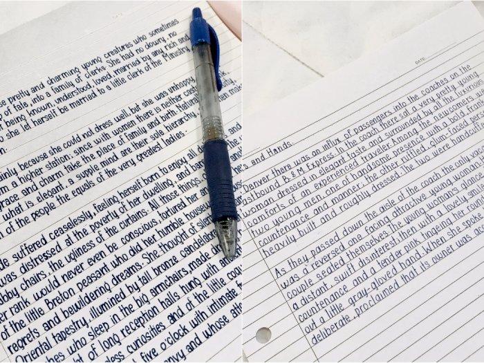Keren! Tulisan Tangan Wanita Ini Begitu Rapi Bak Ketikan Komputer