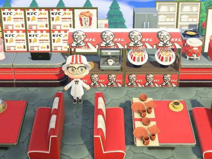 KFC Buat Restoran Sendiri di Animal Crossing, Bagikan Bucket Ayam Gratis!