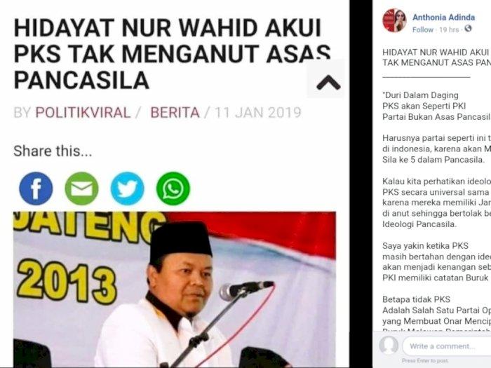 CEK FAKTA: Hidayat Nur Wahid Akui PKS Tak Menganut Asas Pancasila