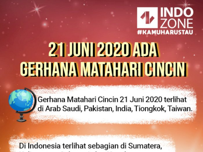 21 Juni 2020 Ada Gerhana Matahari Cincin