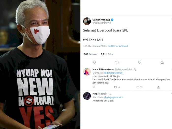 Liverpool Jadi Juara Liga Inggris, Ganjar: Selamat Liverpool, Tertanda Fans MU