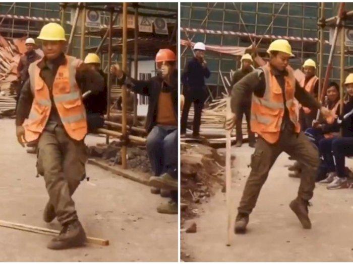 Jempol Dua! Pekerja Konstruksi Ini Dijuluki Reinkarnasi Michael Jackson, Tonton Aksinya