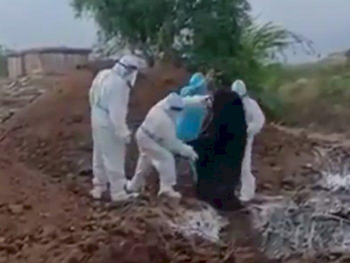 Biadab, Viral Mayat-mayat Pasien Covid-19 Dilempar dalam Lubang, Pejabat India Minta Maaf