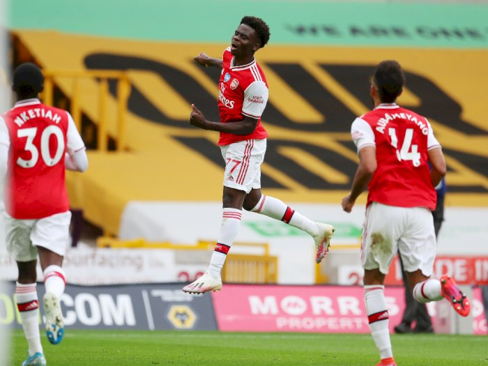 Wolverhampton Wanderers VS Arsenal: Gol Bukayo Saka Bawa The Gunners Unggul di Babak I