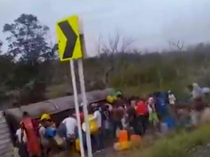 Rebutan Minyak dari Truk Tangki BBM yang Terguling di Kolombia, 7 Orang Tewas