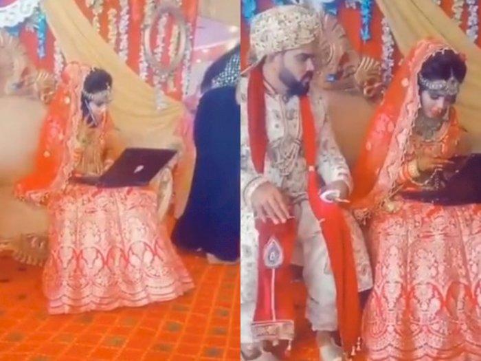 Lagi Gelar Resepsi Pernikahan, Pengantin Ini Masih Saja Buka Laptop di Pelaminan