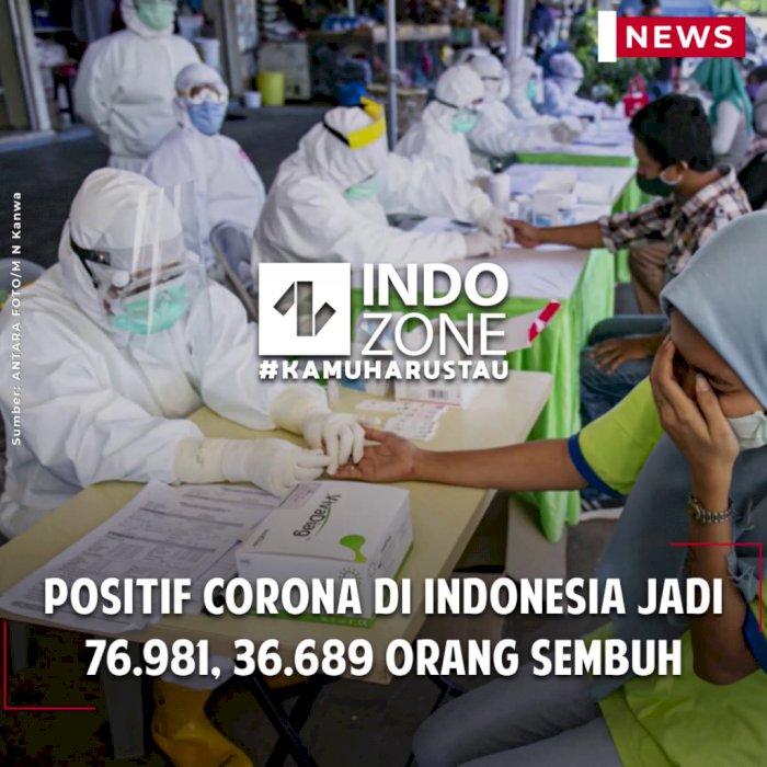 Positif Corona di Indonesia Jadi 76.981, 36.689 Orang Sembuh