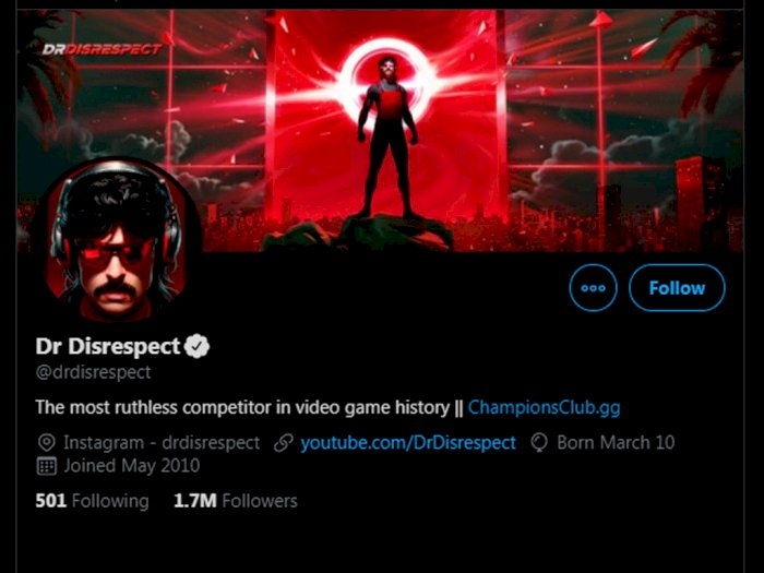 Ganti Link Twitch Menjadi YouTube di Twitter, Pertanda Dr Disrespect ke YouTube?