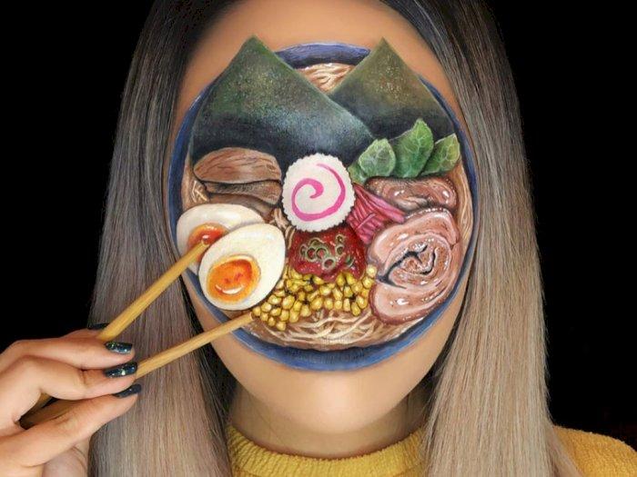 Hasil Make Up Pakai Teknik Body Painting Gambar Makanan, Keren!