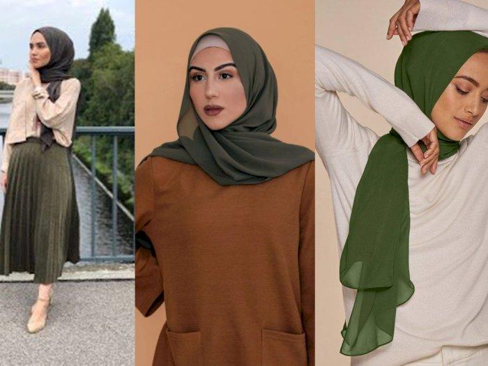 Padukan Hijab Hijau Army dengan 3 Warna Baju Ini Bikin Penampilan Fresh