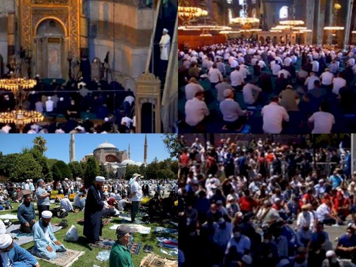 Salat Jumat Perdana Digelar, Lautan Manusia Padati Masjid Agung Hagia Sophia Turki