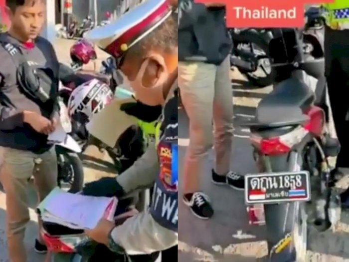 Viral Video Motor Plat Thailand Terjaring Razia, Polisinya Ngomong Bahasa Thailand