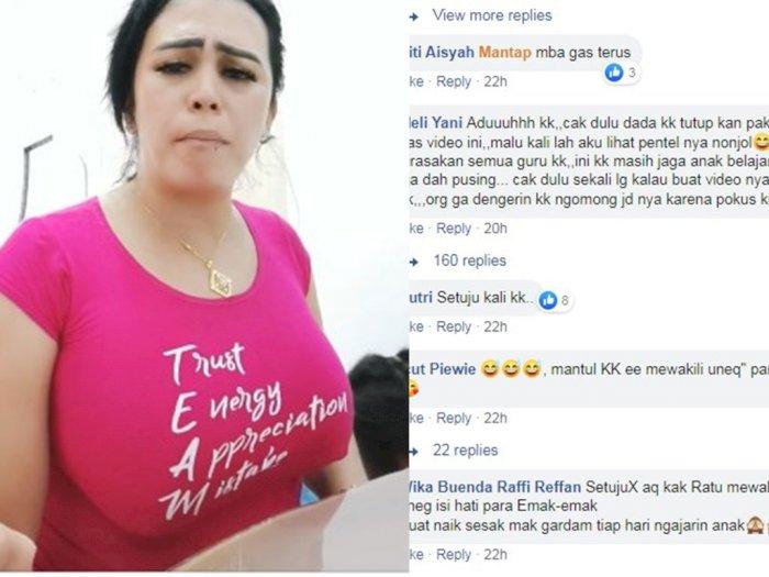 Tak Pakai BH, Emak-emak Berdada Jumbo Ini Bikin Netizen Salfok saat Protes Sekolah Online