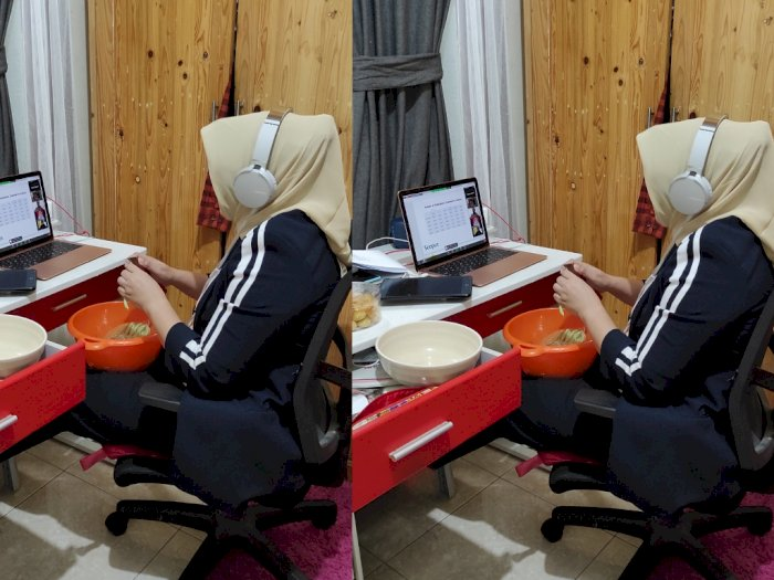Multitasking, Ibu Ini Rapat Daring Sambil Potong Sayur, Netizen: The Power of Emak-emak