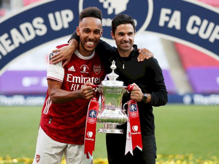 Arsenal Juara Piala FA, Arteta Pede Aubameyang Perpanjang Kontrak