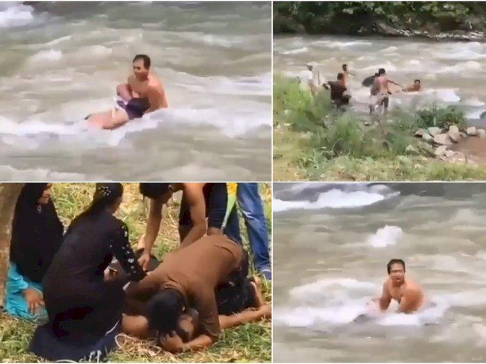 Nahas, Rekreasi Bersama Keluarga, Remaja Ini Hanyut dan Tewas saat Berenang di Sungai