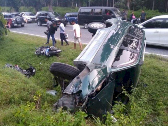 3 Kendaraan Kecelakaan di Jalan Lintas Simalungun - Medan, Satu Orang Tewas