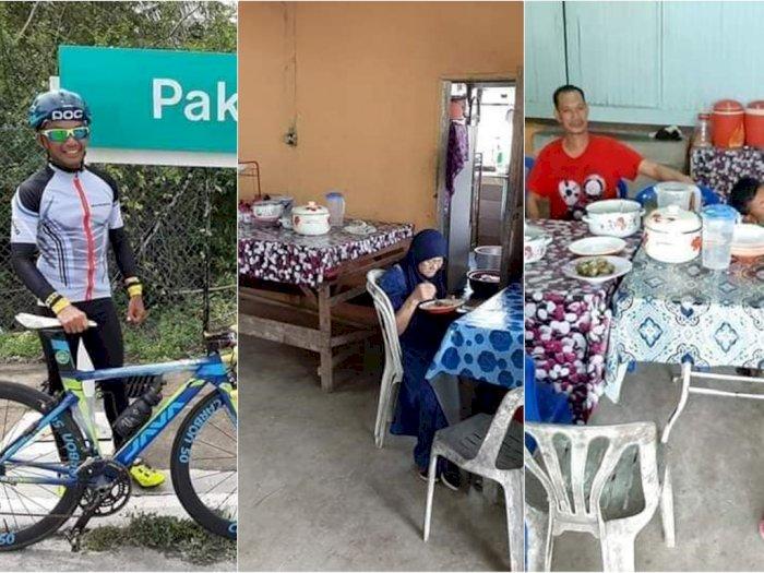 Lapar Saat Bersepeda, Pria Ini Malah Tak Sadar Makan di Rumah Warga