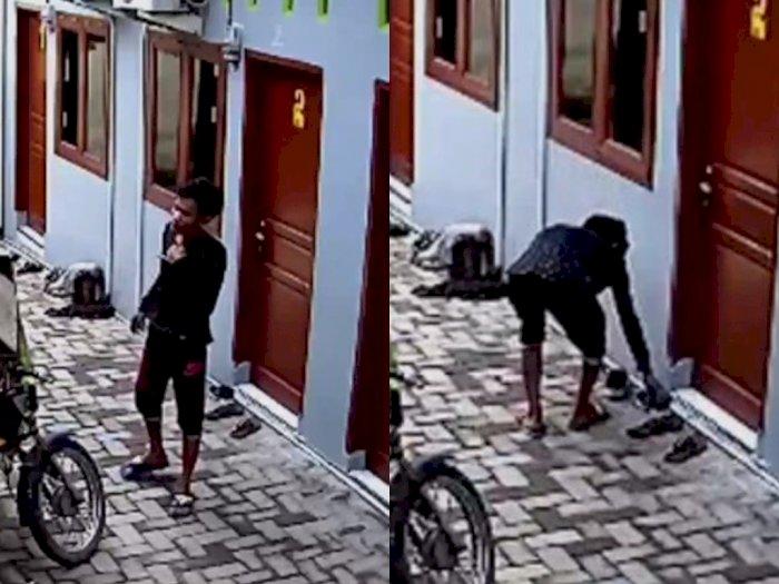 Terekam Kamera CCTV, Seorang Pria Curi Sepatu di Kos-kosan