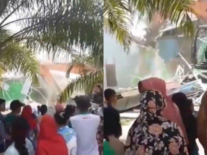 Viral! Insiden Istri Tua Robohkan Rumah Istri Muda Pakai Buldoser, Rupanya Gara-gara Ini