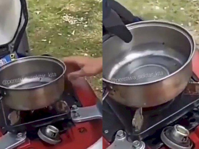 Tangki Bensin Disulap Jadi Kompor untuk Bikin Kopi, Netizen Degdegan Takut Motor Meledak