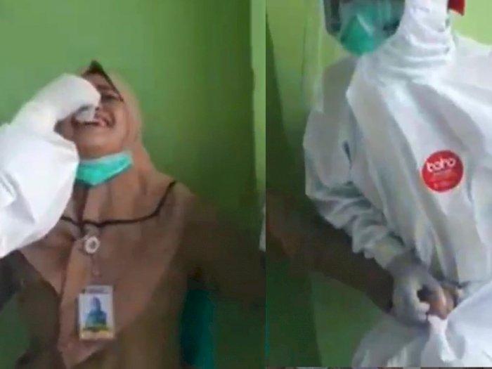 Video Wanita Berbaju PNS Takut saat Tes Swab Malah Pegang Kemaluan Petugas Medis Laki-laki