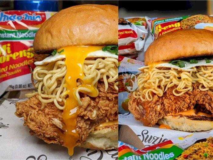 Restoran Ini Gabungkan Burger Ayam dan Indomie Goreng, Hasilnya Bikin Ngiler Massal