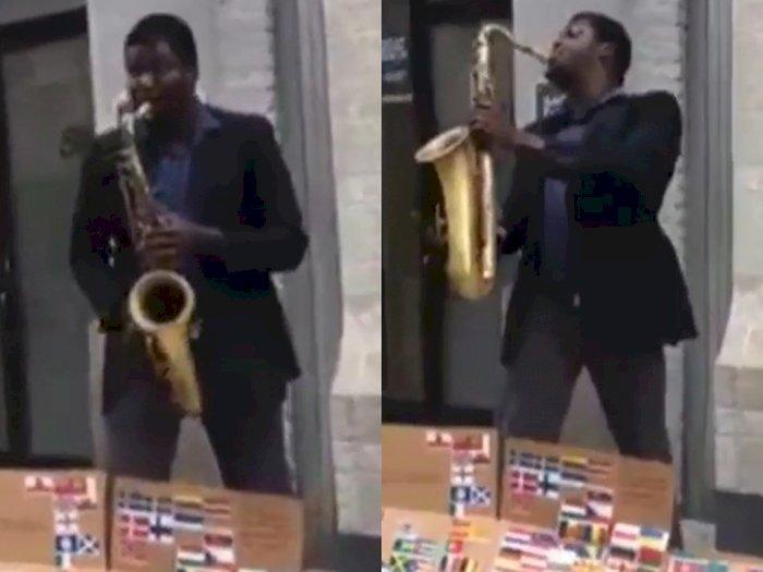 Pengamen Luar Negeri Ini Bawakan Lagu Indonesia Raya dengan Saksofon, Penonton Hormat
