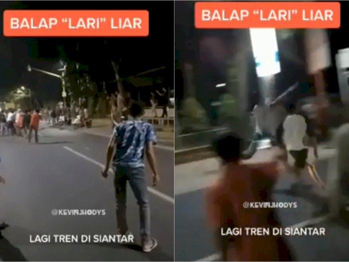 Kreatif! Bukan Ugal-ugalan Pakai Motor, Anak Muda Siantar Bikin 'Balap Lari Liar'